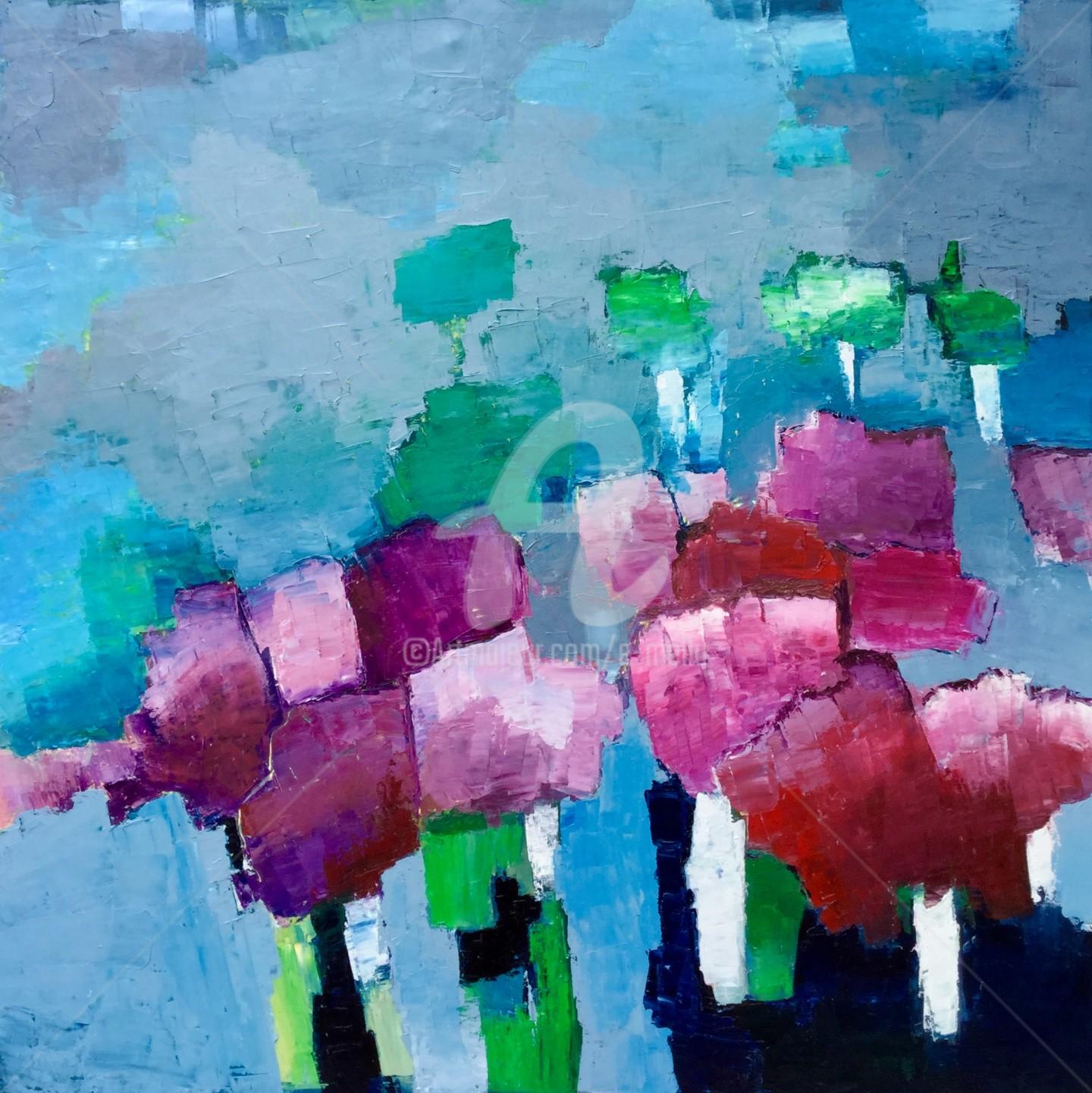 Eliane Boivin - Chemin abstrait 5 (bouquets)