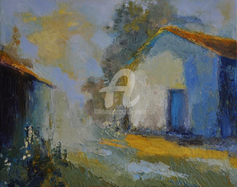 """Eliane Boivin - """"Les-cabanes"""" 32X55"""