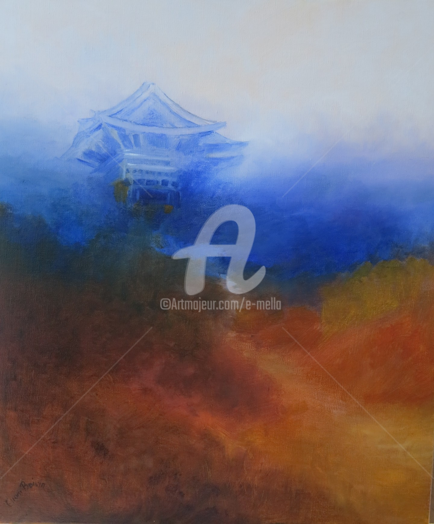"Eliane Boivin - ""Le-temple bleu"" 40X60"