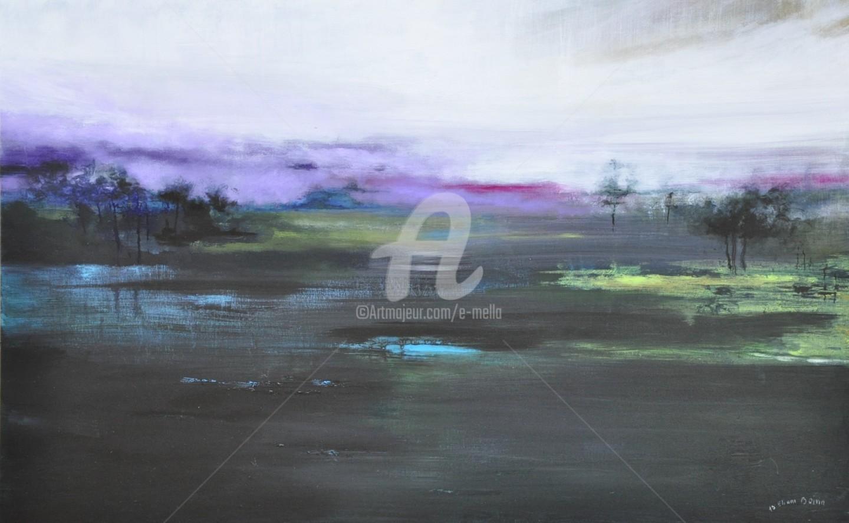"""Eliane Boivin - """"Le lac, la-nuit"""" 115X73"""