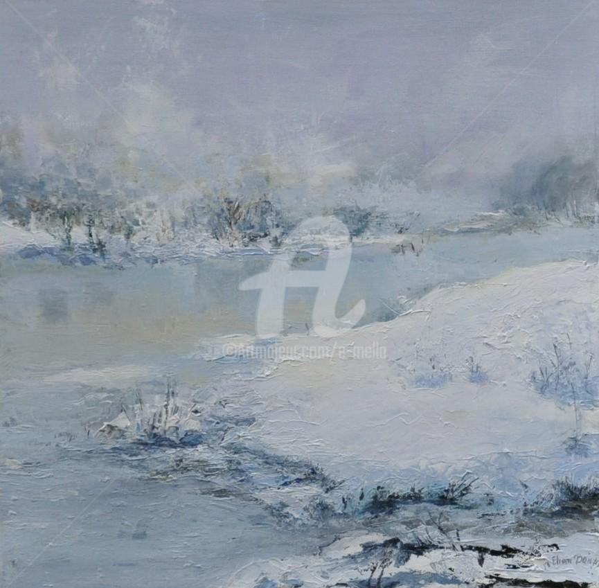 """Eliane Boivin - """"Lac sous la neige"""" 50X50"""