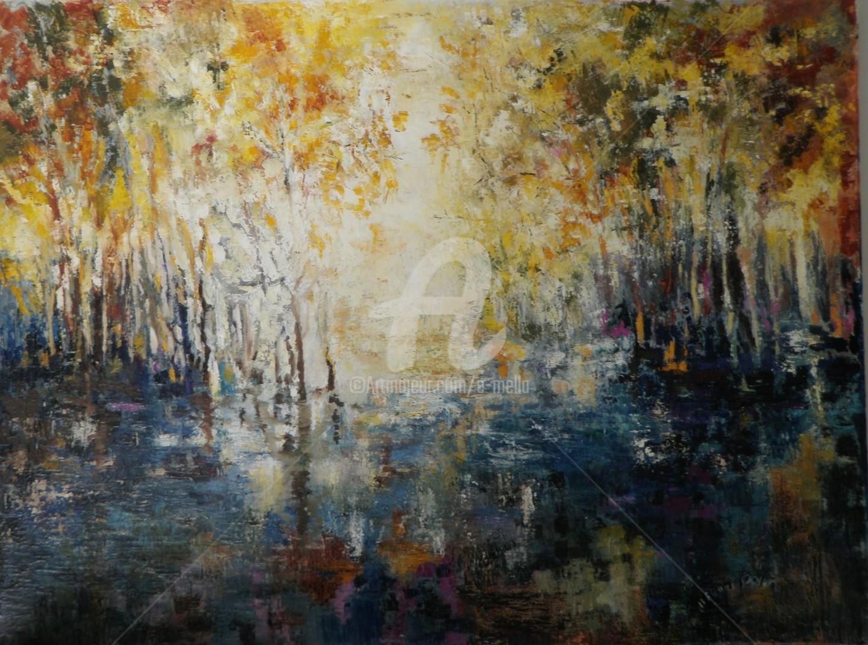 """Eliane Boivin - """"Etang et arbres"""" 80X60"""