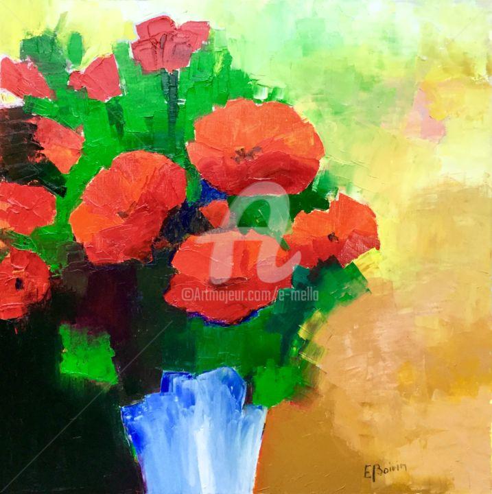 Eliane Boivin - Coquelicots au vase bleu