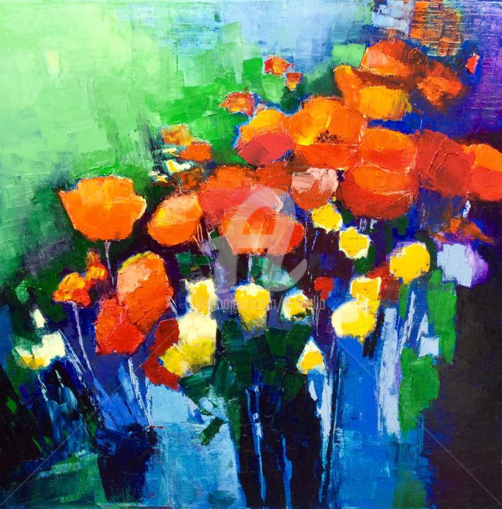Eliane Boivin - Coquelicots aux vases noirs
