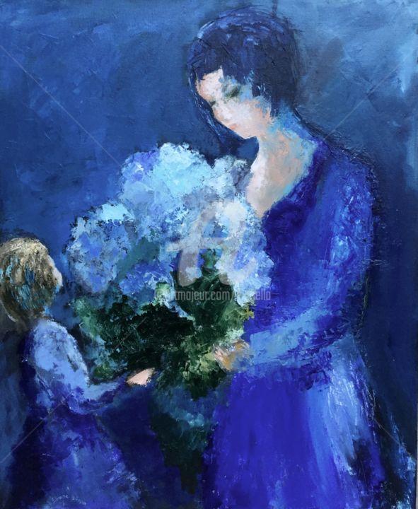 """""""La dame aux hortensias"""" (V2) 60X75"""